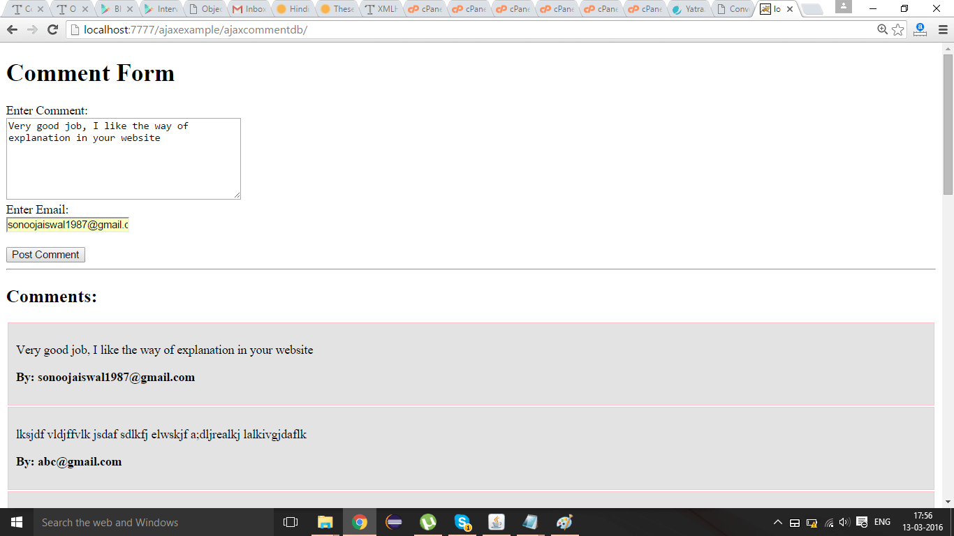 ajax comment form example output 2
