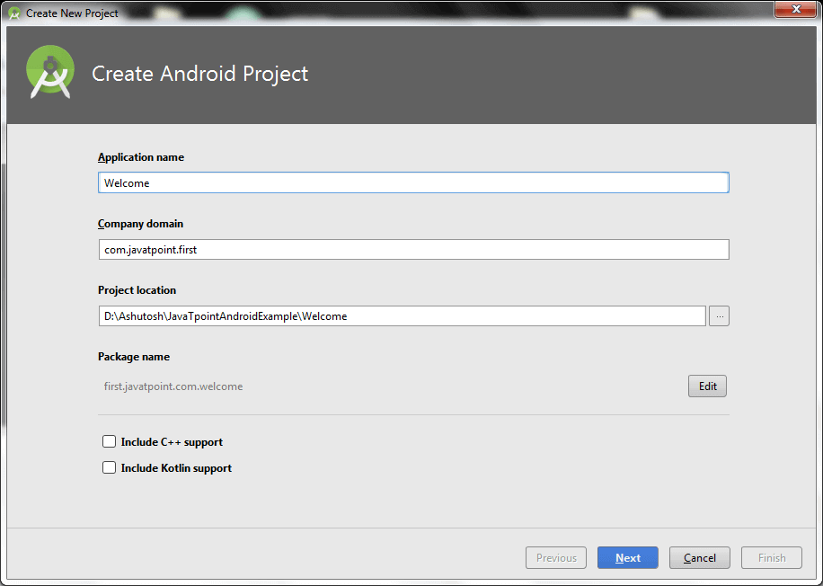 Hello android example - javatpoint