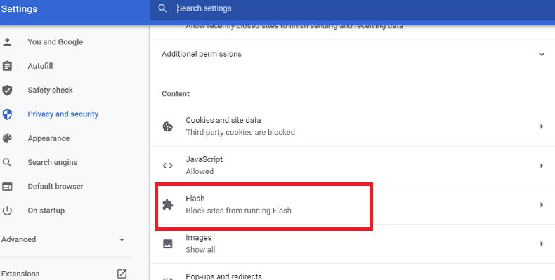Turn on Flash in Chrome