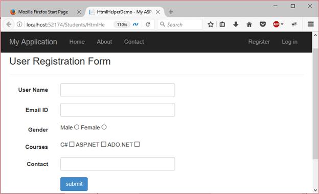 ASP Net razor html helpers 1