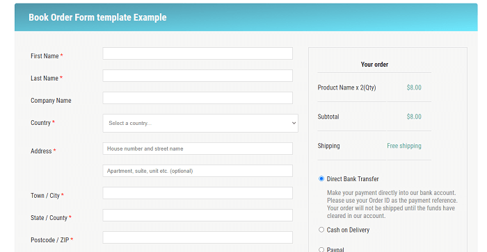 Book Order Form template