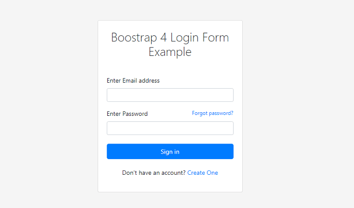 Bootstrap 4 Login Form
