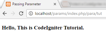 Codeigniter Passing parameters in codeigniter 1