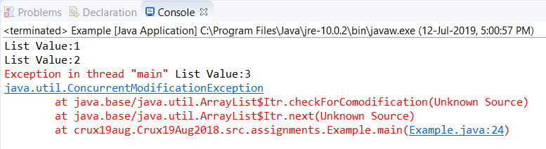 ConcurrentModificationException in Java - Javatpoint