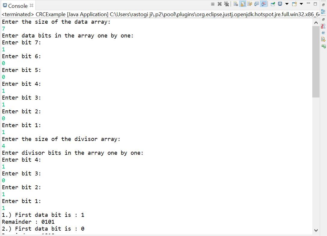 CRC Program in Java