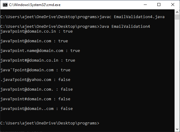 Java Email Validation