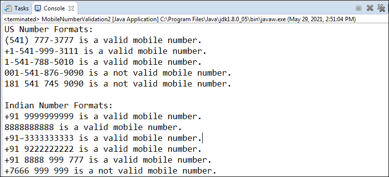 Mobile Number Validation in Java