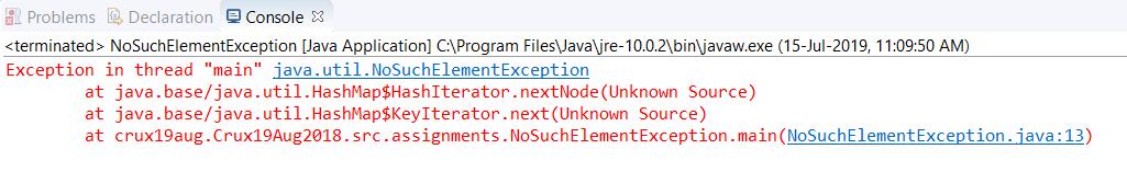 NoSuchElementException in Java