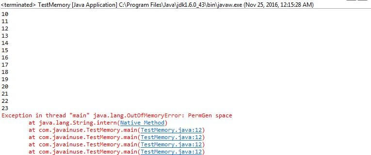 PermGen space Java