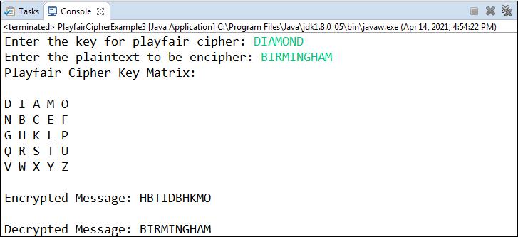 Playfair Cipher Program in Java