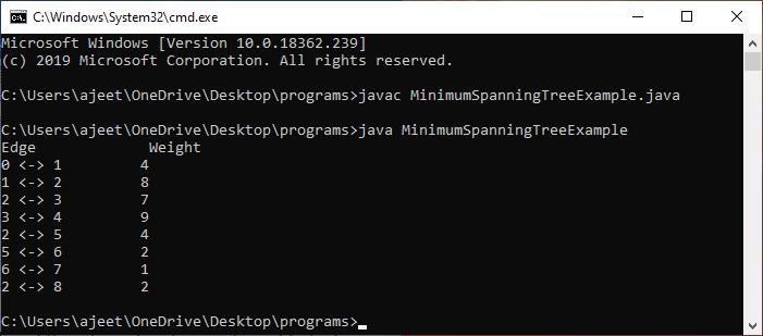Prim's algorithm Java