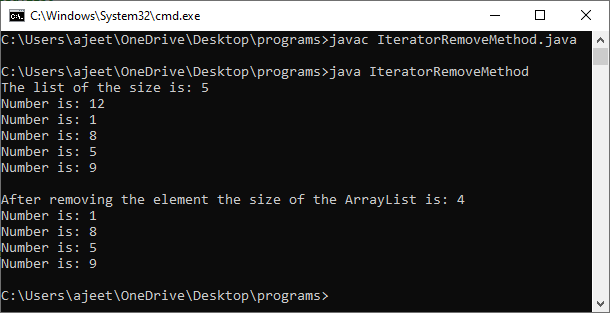 Remove an Element from ArrayList in Java
