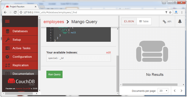 Run couchdb query with mango 2