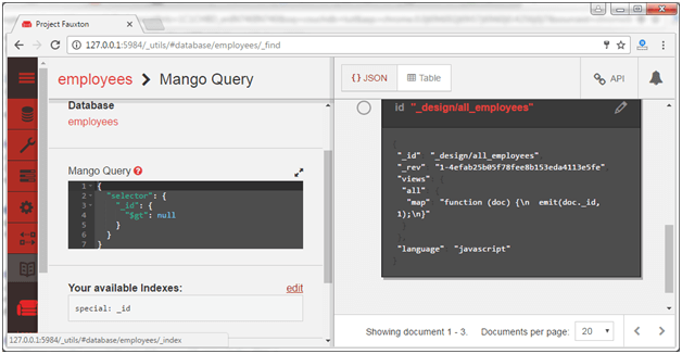 Run couchdb query with mango 3