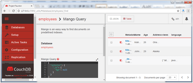 Run couchdb query with mango 4