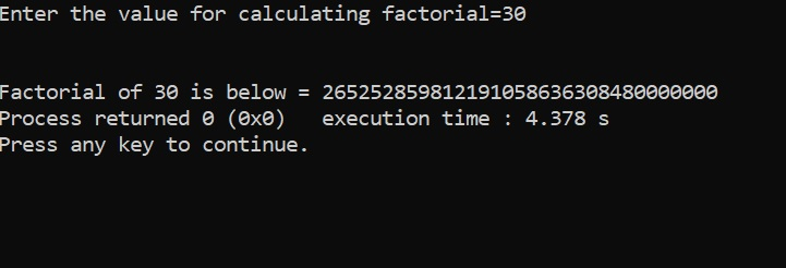 Extra Long Factorials in C