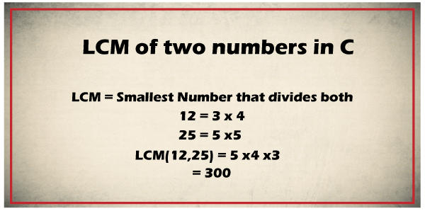 LCM of two numbers in C