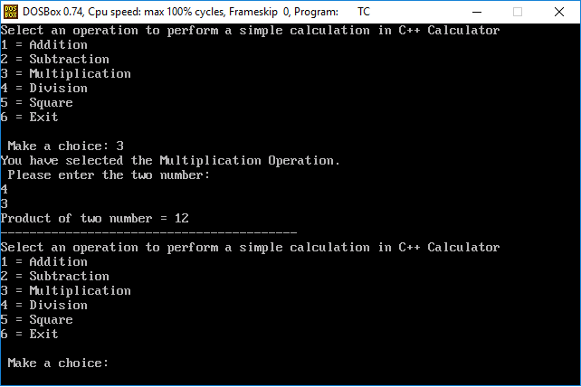 Calculator Program in C++