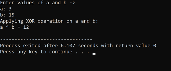 C++ Bitwise XOR Operator