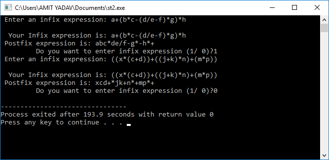 Program to convert infix to postfix expression in C++ using the Stack Data Structure