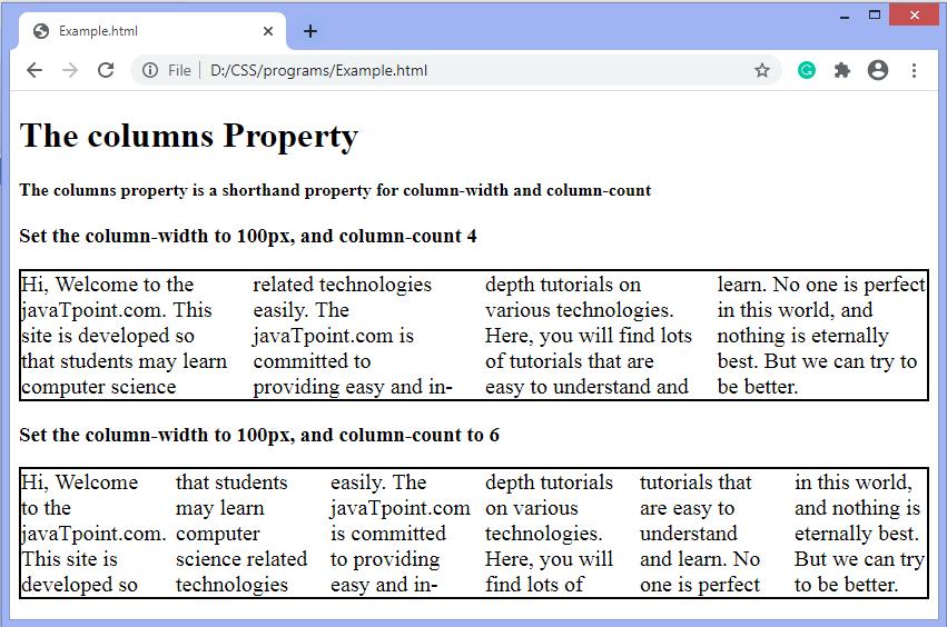 CSS columns