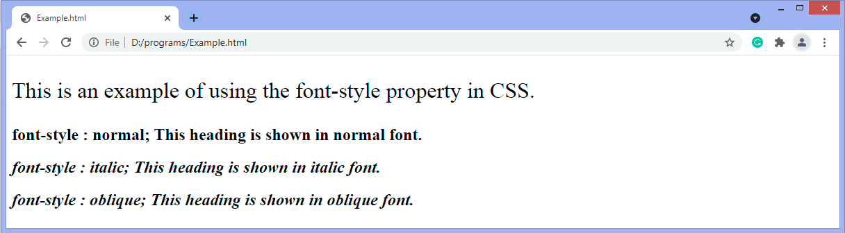 CSS font-style property