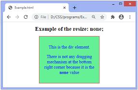 CSS resize property