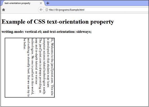 CSS text-orientation property
