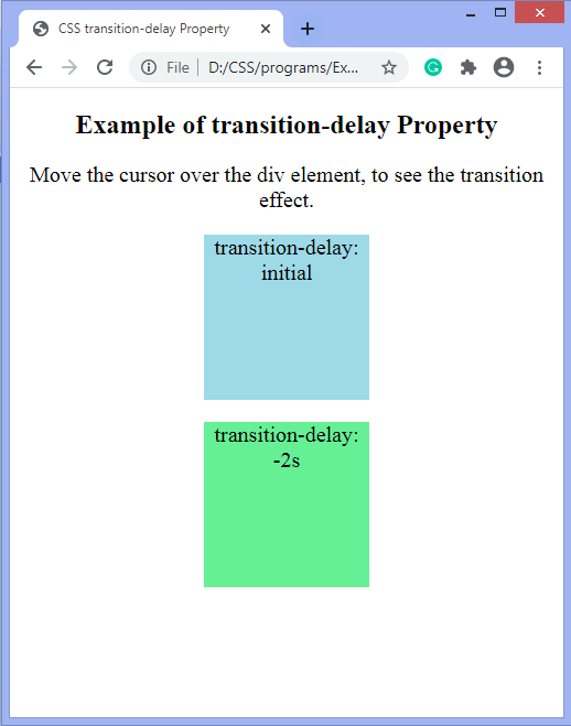 CSS transition-delay property