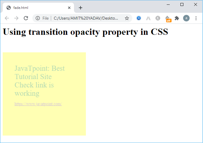 CSS Transition Opacity