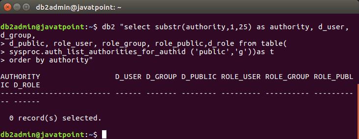 DB2 Check Database Authority - javatpoint