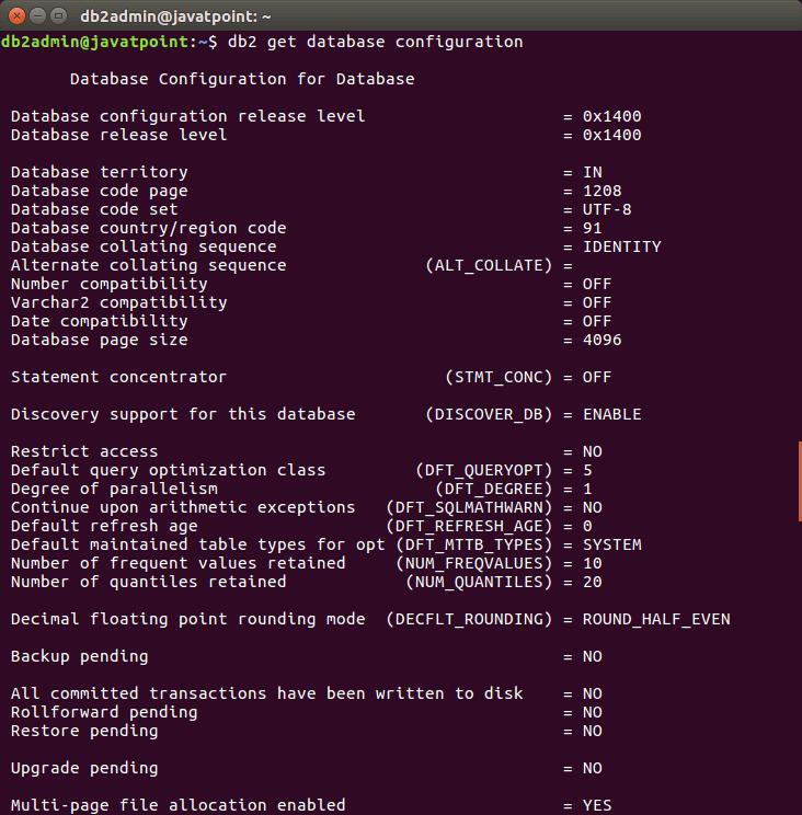 DB2 Verify Database - javatpoint