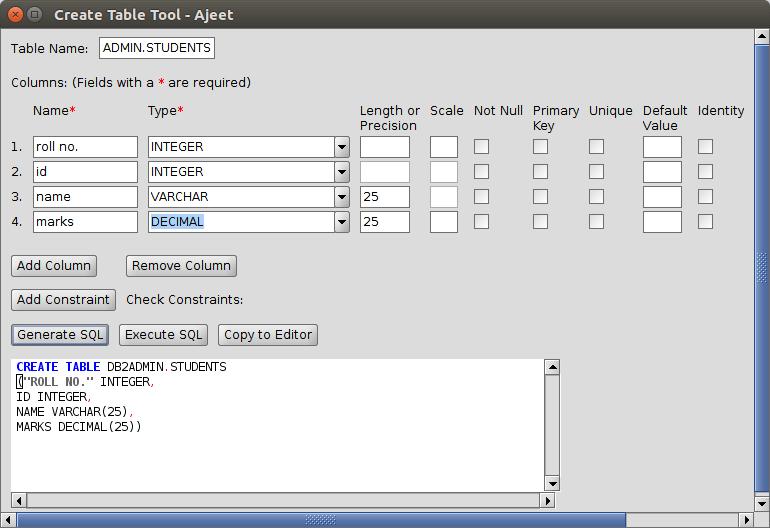 DB2 createtable3