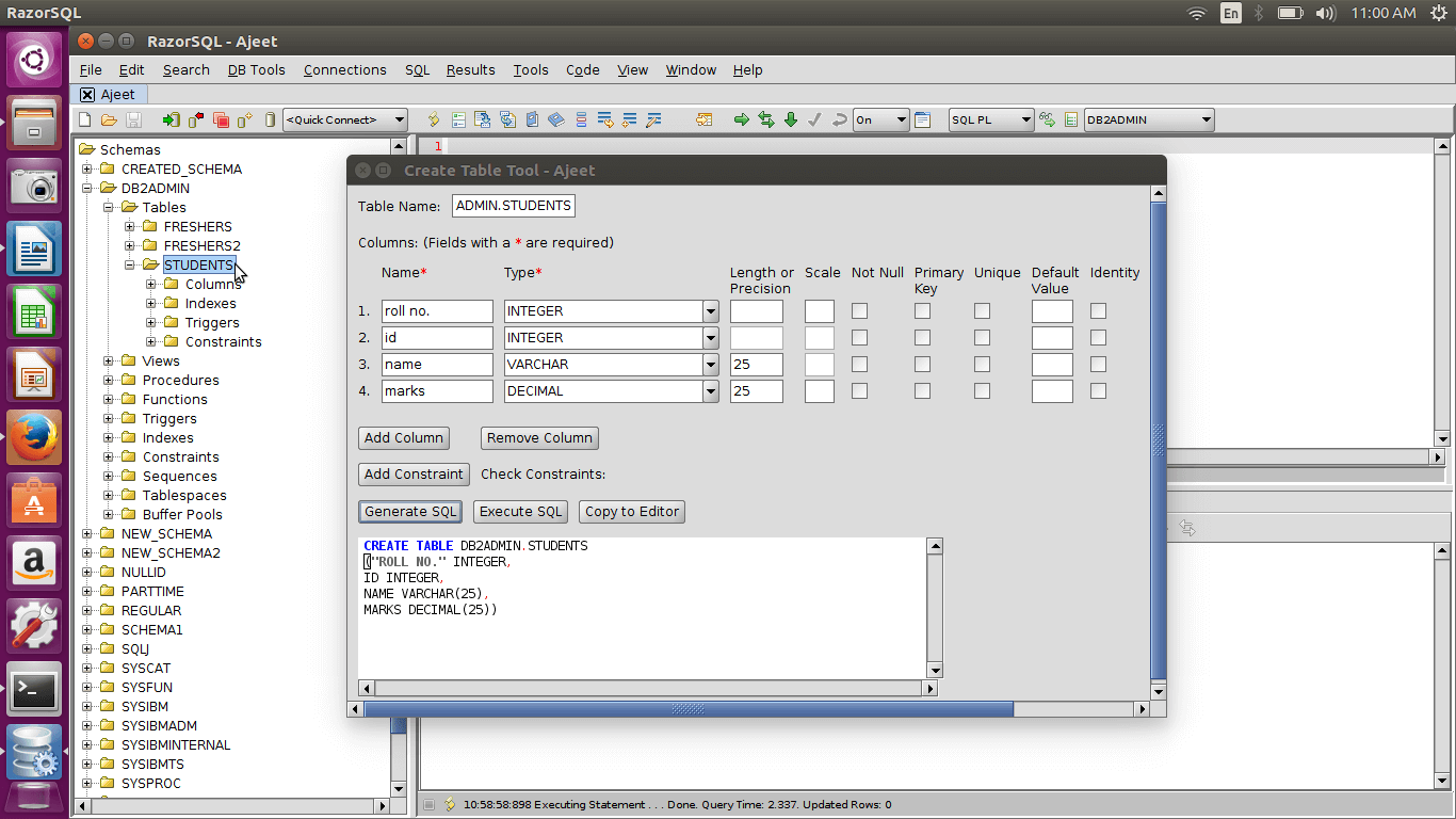 DB2 createtable5