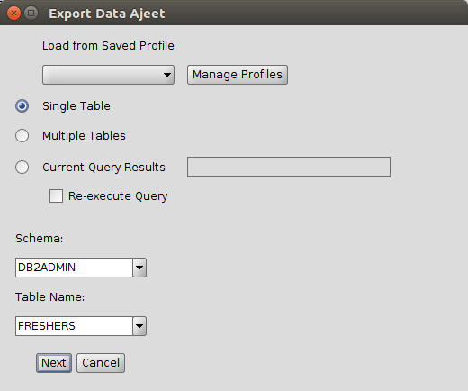 DB2 export table 2