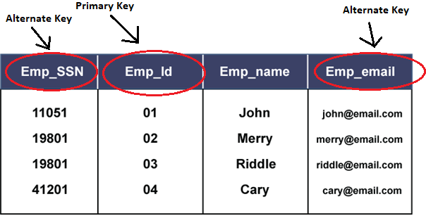Alternate Key in DBMS