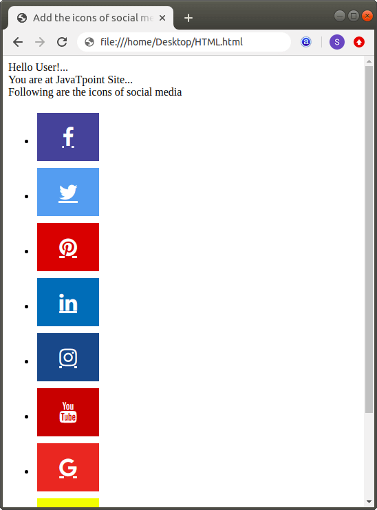 How to add Social Media Icons in Html