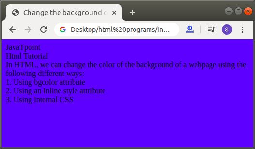 How to Change Background Color in Html