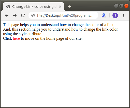 How to Change Link color in Html
