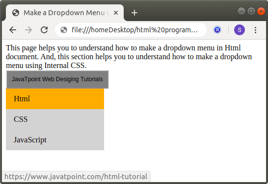 How to Make a Dropdown Menu in Html