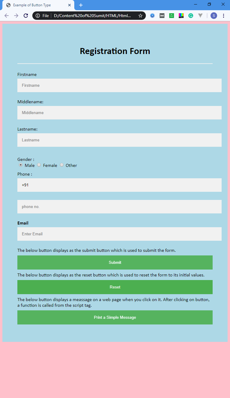 HTML Button Type