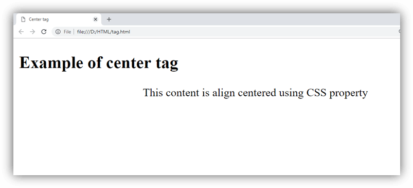 HTML center tag