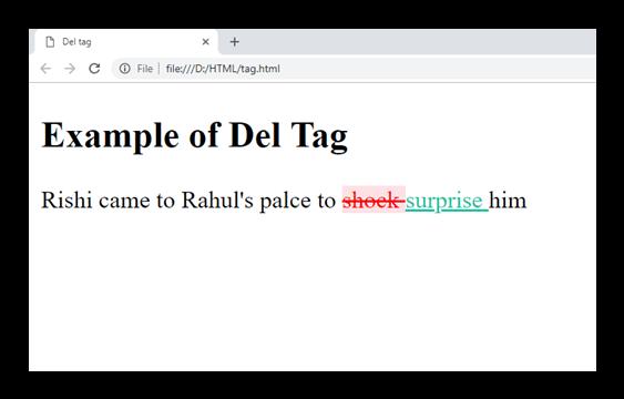 HTML del tag