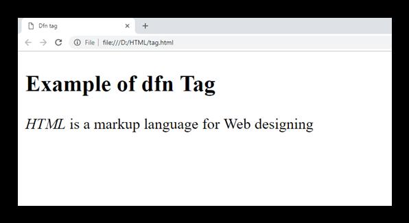 HTML dfn tag