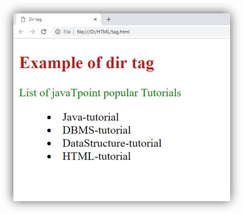 HTML dir tag