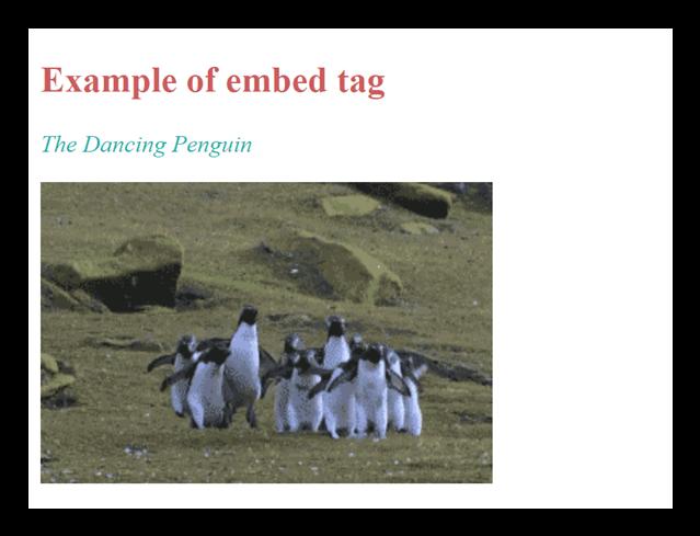 HTML embed tag