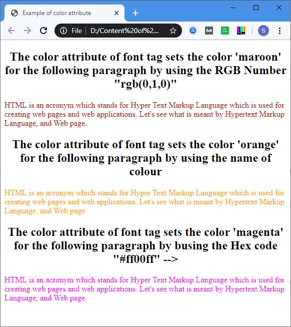 HTML font color