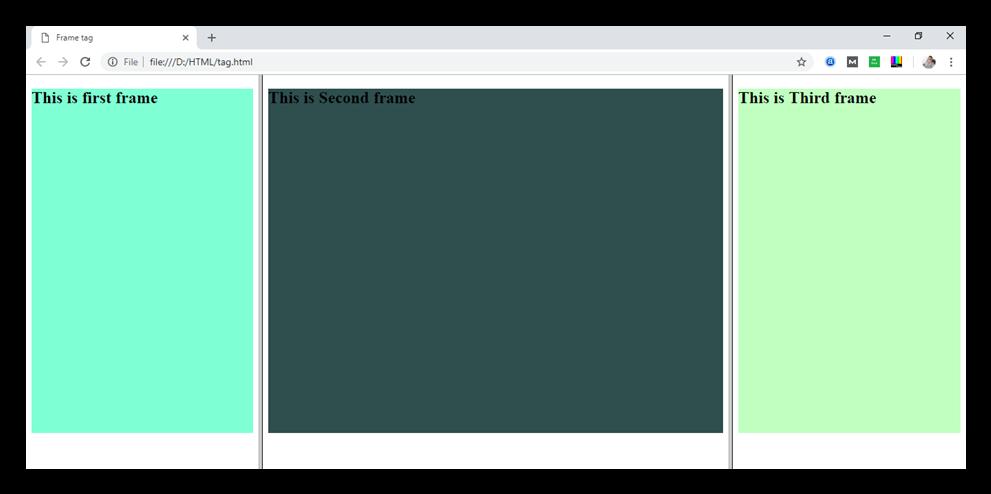 HTML frame tag