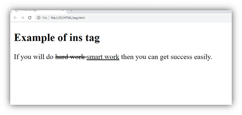 HTML ins tag