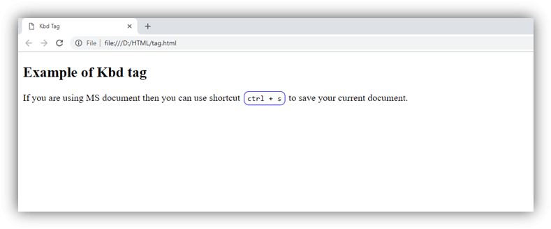 HTML kbd tag